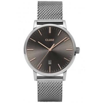 Cluse Aravis Leather Silver Black/Black