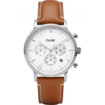 Cluse Aravis Chrono Leather Rose Gold White/Dark Brown