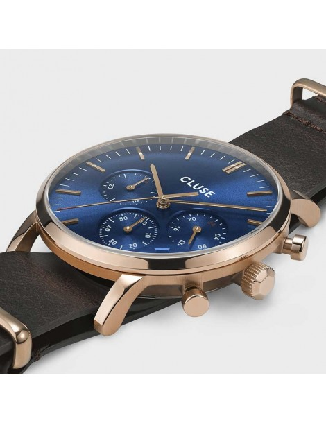 Cluse Aravis Chrono Leather Rose Gold White/Dark Brown
