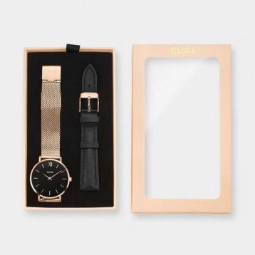 Cluse La Bohème Gift Box Rose Gold White Grey + Black Strap