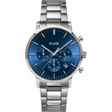 Cluse Aravis Chrono Mesh Silver Dark Blue/Silver