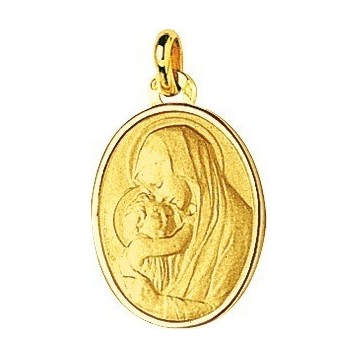 Médaille Vierge à l'Enfant Or Jaune 9K