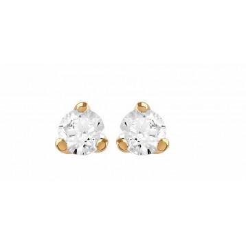 Boucles d'oreilles Diamant 0.11ct or rose 18k