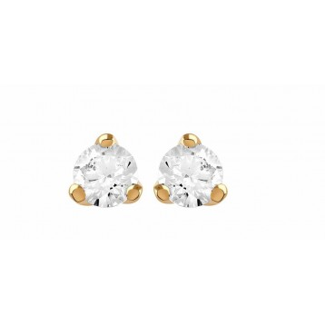 Boucles d'oreilles Diamant 0.16ct or rose 18k