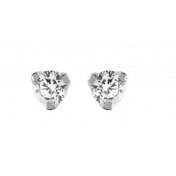 Boucles d'oreilles Diamant 0.25ct or gris 18k