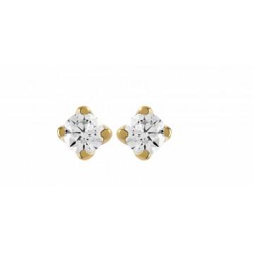 Boucles d'oreilles Diamant 0.05ct or jaune 18k