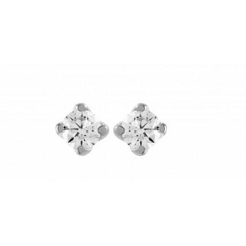 Boucles d'oreilles Diamant 0.05ct or gris 18k