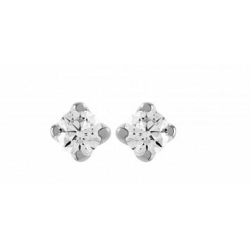 Boucles d'oreilles Diamant 0.16ct or gris 18k