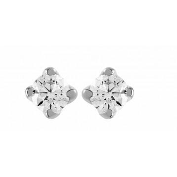 Boucles d'oreilles Diamant 0.40ct or gris 18k