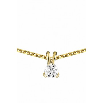 Collier Diamant 0.05ct or jaune 18k
