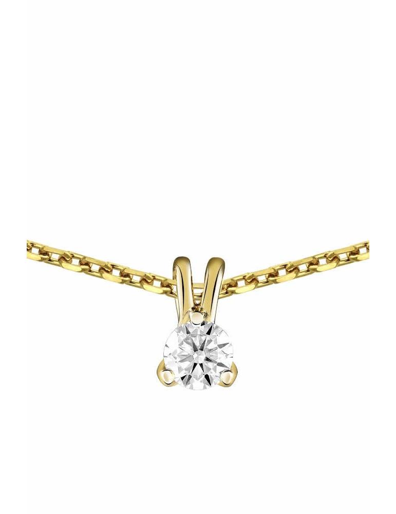 Collier Diamant 0.05ct or jaune 18k