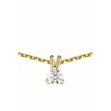 Collier Diamant 0.15ct or jaune 18k