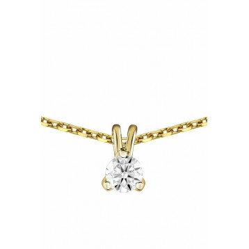Collier Diamant 0.20ct or jaune 18k
