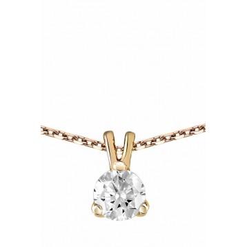 Collier Diamant 0.30ct or rose 18k