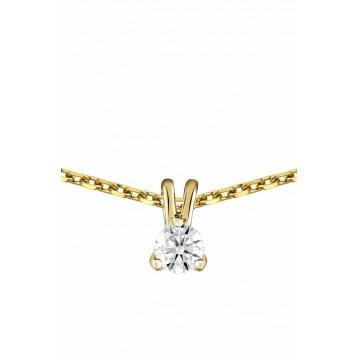 Collier Diamant 0.05ct or jaune 9K