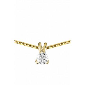 Collier Diamant 0.10ct or jaune 9K