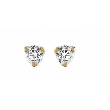 Boucles d'oreilles Diamant 0.11ct or jaune 9K