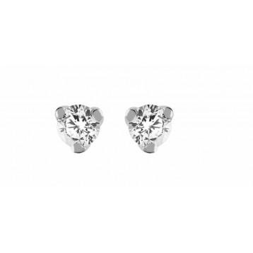 Boucles d'oreilles Diamant 0.11ct or gris 9K