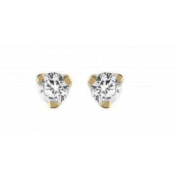 Boucles d'oreilles Diamant 0.16ct or jaune 9K