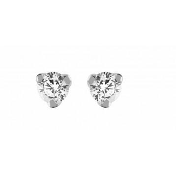 Boucles d'oreilles Diamant 0.16ct or gris 9K