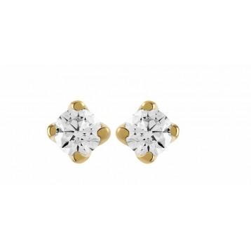 Boucles d'oreilles Diamant 0.20ct or jaune 9K