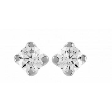 Boucles d'oreilles Diamant 0.20ct or gris 9K