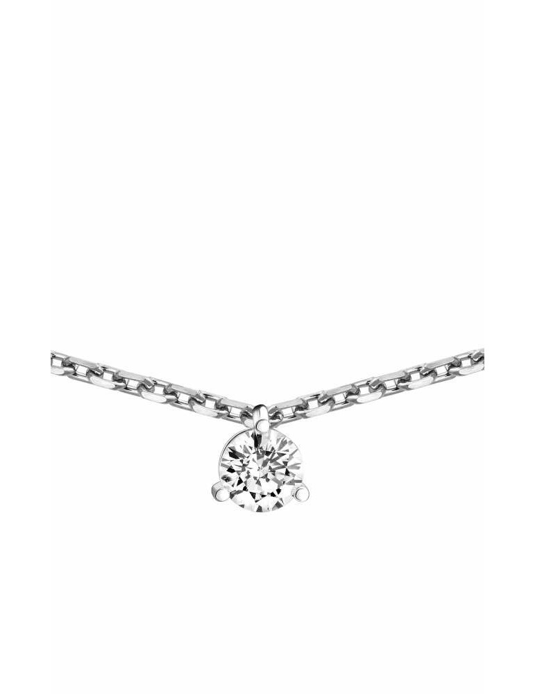 Collier Diamant 0.10ct or gris 18k