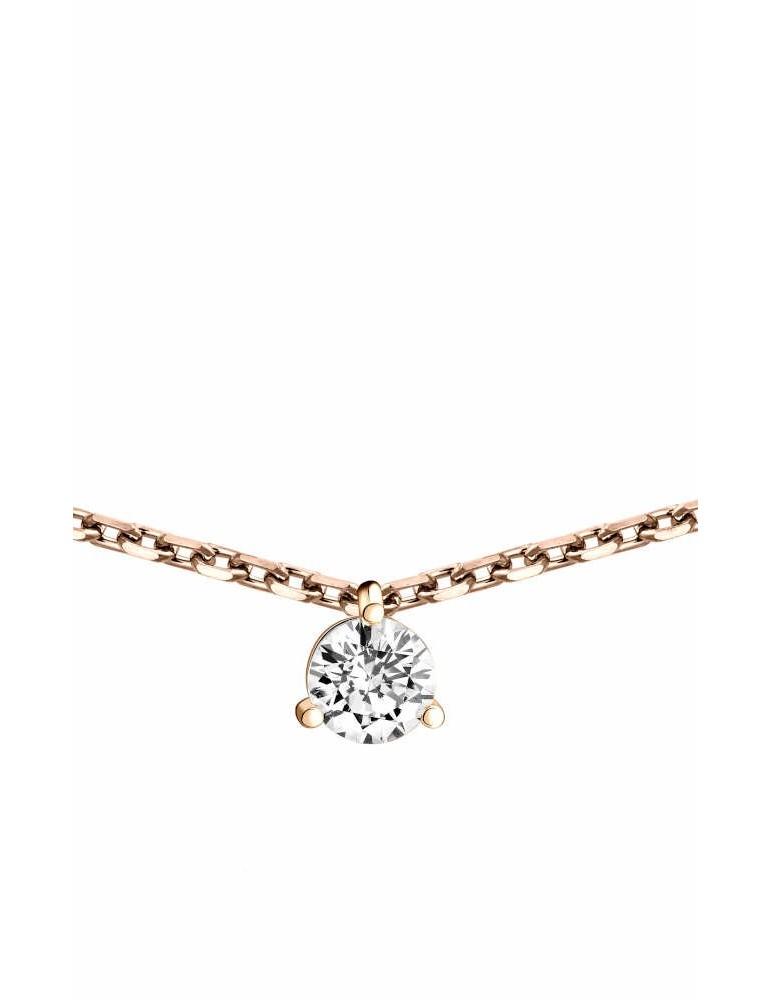 Collier Diamant 0.15ct or rose 18k