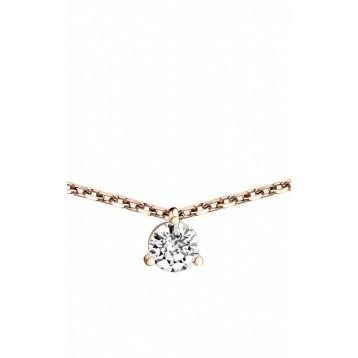 Collier Diamant 0.25ct or rose 18k