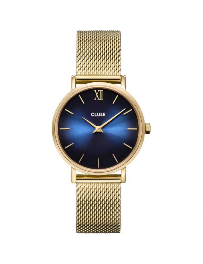 Cluse Minuit Mesh Deep Blue, Gold Colour