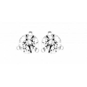 Boucles d'oreilles Diamant 0.10ct or gris 18k