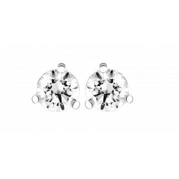 Boucles d'oreilles Diamant 0,16ct or gris 18k