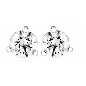 Boucles d'oreilles Diamant 0.70ct or gris 18k