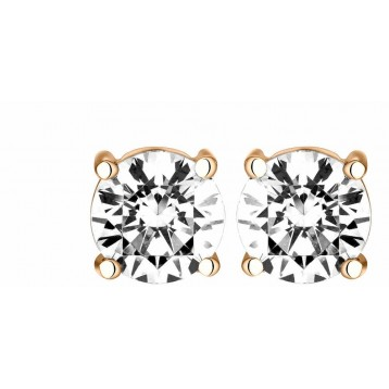Boucles d'oreilles Diamant 1,00ct or rose 18k