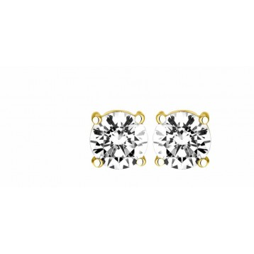 Boucles d'oreilles Diamant 0.10ct or jaune 18k