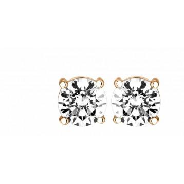 Boucles d'oreilles Diamant 0.25ct or rose 18k