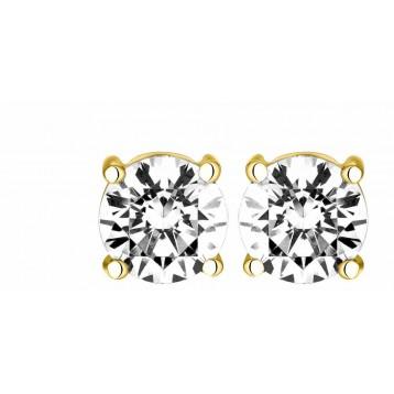 Boucles d'oreilles Diamant 0.70ct or jaune 18k