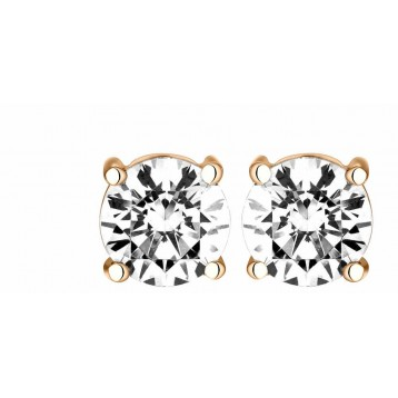 Boucles d'oreilles Diamant 0.70ct or rose 18k