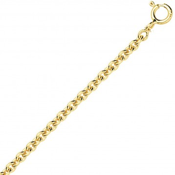 Chaine or jaune 9k maille forçat ronde 1,10 mm